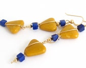 Golden Yellow Jasper and Royal Blue Lapis Triangle and Cube Stone Earrings, Geometric 14k Gold Filled Fun Casual Earrings - LeesEarringBoutique