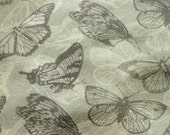 "11""X11"" Leather Piece - Butterflies Original Print in Brown - Printed Leather Material - worldofpineapple"