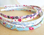 Shabby Chic Headband Preppy Retro Vintage Fabric Headband Old School Hairband Cloth Headband Polka Dots Cream Gray - French Country Summer - Jewelsalem