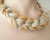 linen necklace,Organic, Orange and linen... - vyldanstyl