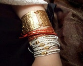Genuine Leather, Nugget & Skulls Rock Multi-Wrap Wristband Cuff Bracelet Chan Luu Style - VeganLeather