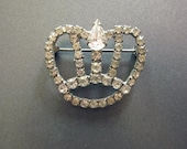 Vintage Rhinestone Crown Brooch - JeepersKeepers