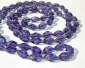 Vintage 20s Purple Flapper Necklace Crystal Beaded Bohemian Amethyst Glass - metroretrovintage