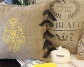 Grainsack Burlap Pillow - Modern Paisley - MODERNVINTAGEMARKET