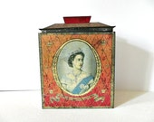 1953 British Coronation Red Tea Tin - ChicFrangine