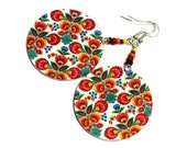 Folk Flowers polish folk art  motif Earrings orange red yellow fall fashion, Gift under 25  (4L) - MADEbyMADA