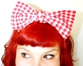 Bow hair tie, Red Gingham, Retro, Rockabilly, 1940s,1950s