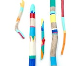 Painted Sticks - 5 Piece Art Collection - Bold Colors, Driftwood, Beach, Stripes, Color Block, Bohemian,Triangles, Chevron - Beach Decor - bonjourfrenchie