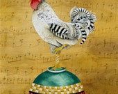 8 x 10 Art Print. Musical Rooster On Baking Bowl