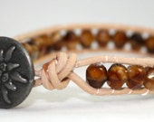 Tigers eye faceted wrap bracelet - faceted tigers eye - natural wrap - chan luu styled wrap - mvtreasures