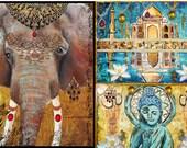 India art set, instant collection, Choose Two, elephant, ganesha, taj mahal, buddha, zen, lotus, gilded, jaipur, henna, painting, modern art - TarasArtHouse