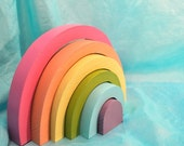 Sale Today - Kids Wooden Toy,  Pastel Rainbow Stacker / Waldorf Toys - TheEnchantedCupboard