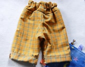Boy's summer clothes 12/18mo yellow and blue plaid pants - TwoGreenLoonsBaby