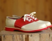 vintage NOS 1940s red and white saddle shoes - honeytalkvintage