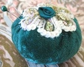 Pincushion Pin Keeper MINI Pinnie 2 inch FOREST Green Velvet Puff  Pincushion Handmade CharlotteStyle Sewing Needlecraft - CharlotteStyle