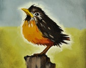 Bird Painting - Baby Robin -Original Painting on Canvas by Nancy Jean - Gift for Mother - thePaintedSky