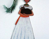 Frida Kahlo and Cat Printed Bookmark