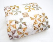 Pastel  and White Shabby Pinwheel Quilt