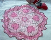 Doily Triple Pink Valentine Hearts 'N' Lace Crochet Thread Art Doily