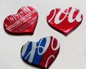 10 Handmade Tin Heart Stik-ons