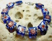 Garden Party- Blue Millefiori Flower Bead and Silver Bracelet