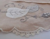 Pale Pink Napkins with Floral Embroidery