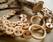 RELIC, Button Necklace of Antique Bone Buttons, Bone Rings and Suede