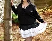Black and White Ruffle Skirt