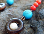 Summer Naturals ..Red Coral, Turquoise,Freshwater Pearl, Wood and Copper Earrings