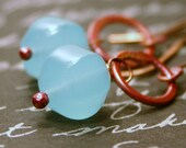 Long Cool One ... Aqua Chalcedont and Rosy Copper ... Earrings
