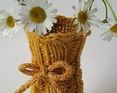 Knit Wool Vase Cozy - Classic Cables - Sunny Yellow