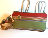 Handmade Wristlet with Bracelet in Bold Stripes
