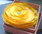 Golden Yellow and Robin's Egg Blue Fabric Flower Brooch