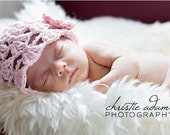 Lacy Beanie with Flower in Pink, infant sizes