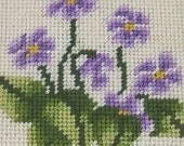 Handmade Needlepoint Violets in Small Wooden Frame