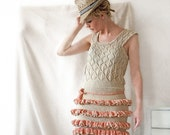 Ivory White and Peach Knitted Cotton Minidress