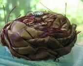 Fabric Rose  Brooch Regal with Rhinestone