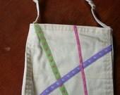 Ribbon embellished yellow denim pocket purse