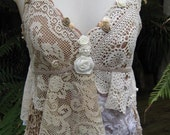 VINTAGE KITTY, COFFEE AND CREAM SHABBY CHIC CAMI, CROCHET, ROSES.. UPCYCLED.. ONE OF A KIND.. X-SMALL - SMALL