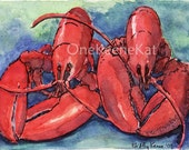 ACEO PRINT Maine Twin Lobster Dinner PRINT