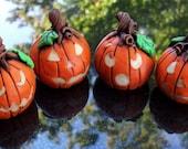 Halloween Jack o Lanterns Polymer Clay  Set of 4