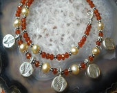 Carnelian and Pearl Charm Necklace - Autumn
