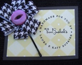Black and White Houndstooth Hair Bow with Vintage Purple Button