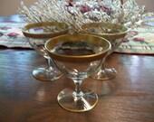 Vintage Set of 3 Crystal Stemmed Glassware Gold Encrusted Border 1920s or 1930s