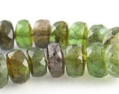 HUGE - SHADED GREEN TOURMALINE FACETED RONDELLES - 2 inches
