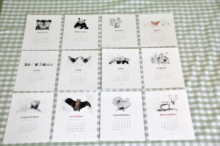pretty woodcut style animal calendar, via katieviggers, USD$19