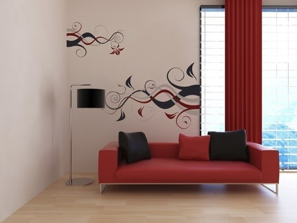 Double Floral Branch -- LARGE WALL DECAL -- 3 Color Combo