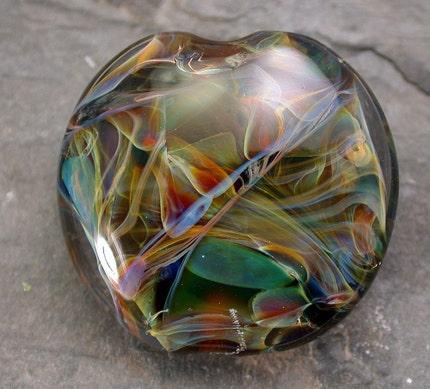 Rainforest Boro Large Lentil Lampwork Glass Focal Bead S177