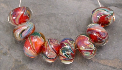 Strawberry Fields Boro Lampwork Glass Bead Set