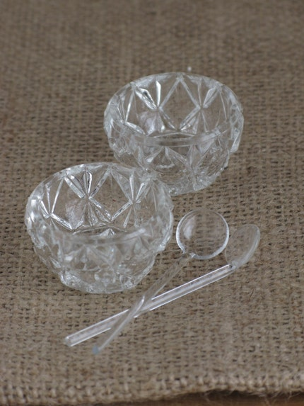 Salt Cellars - Czechoslovakian with Handblown Spoons